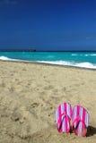 流行粉红在海滩的触发器 免版税库存照片