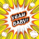 流行艺术呀爆炸背景婴孩!滑稽的减速火箭和葡萄酒漫画 免版税库存照片