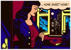 流行艺术回来在家在工作以后的漫画书妇女对她的公寓传染媒介例证 皇族释放例证