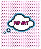 流行艺术在小点背景的云彩泡影 免版税库存照片