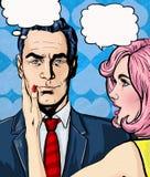 流行艺术夫妇交谈 耦合爱 流行艺术爱 情人节明信片 好莱坞电影场面 实际的爱 第一个亲吻 电影p 免版税库存图片