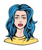 流行艺术女孩漫画样式的例证画象 库存例证