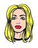 流行艺术女孩漫画的例证画象称呼传染媒介 皇族释放例证