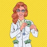 流行艺术女性腐败Put的Money医生到口袋里 钞票概念毁坏美元信包查出的白色 皇族释放例证