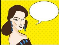 流行艺术妇女例证漫画样式 免版税库存图片