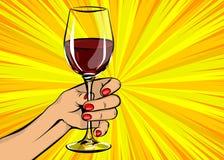 流行艺术妇女手举行红葡萄酒玻璃葡萄酒 库存例证