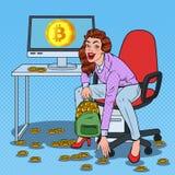 流行艺术妇女矿工在背包投入了Bitcoins 隐藏货币企业技术 虚拟的货币 免版税库存照片