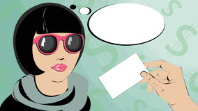 流行艺术妇女认为 免版税库存照片