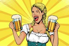 流行艺术德国女孩女服务员运载啤酒杯 oktoberfest的庆祝 向量例证