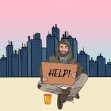 流行艺术无家可归者供以人员 有标志纸板的男性叫化子请求在城市街道上的帮忙 贫穷概念 向量例证