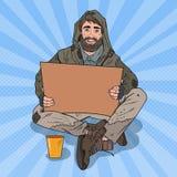 流行艺术无家可归者供以人员 有标志纸板的男性叫化子请求帮忙 向量例证