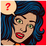流行艺术样式漫画盘区使为难或与问号传染媒介例证的迷茫的妇女和讲话泡影 免版税库存照片