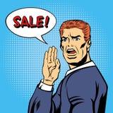 流行艺术样式销售海报 葡萄酒人呼喊销售 免版税库存图片