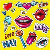 流行艺术漫画塑造补丁徽章贴纸爱情人节 免版税图库摄影