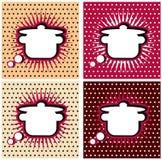 流行艺术烹调符号平底锅或砂锅,漫画书样式的漫画书厨房。 添加您的徽标或文本 库存图片
