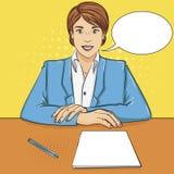 流行艺术背景 女商人,上司在桌上,招待会职员,面试 传染媒介文本泡影 库存例证