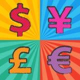 流行艺术货币符号 库存图片