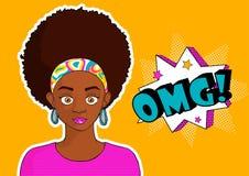 流行艺术syle omg的年轻人相当黑人女孩妇女 免版税图库摄影