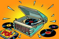 流行音乐、唱片和留声机 向量例证