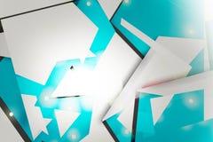浅兰的几何overlaping的形状,抽象背景 库存照片