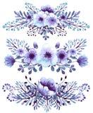 浅兰的套水彩和紫罗兰开花花束 库存照片