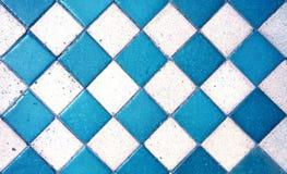 浅兰的老样式正方形瓦片纹理/地板 库存照片