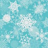 浅兰的雪花无缝的样式 免版税库存图片
