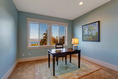 浅兰的颜色的简单的办公室室 库存照片