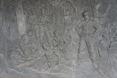 浅浮雕图象在万隆西爪哇省,象征印度尼西亚的人民的民族自尊心 免版税库存照片