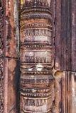 浅浮雕高棉文化在吴哥窟,凸轮雕象背景  免版税图库摄影