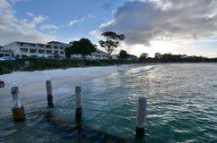 浅滩海湾海滩 斯蒂芬斯港 澳洲调遣葡萄猎人新的南谷威尔士 澳洲 免版税图库摄影
