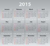 浅灰色的日历栅格在2015年 免版税库存图片