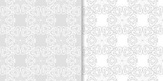 浅灰色的花卉背景 仿造无缝的集 免版税图库摄影
