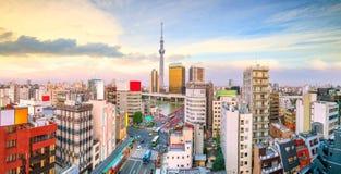 浅草地区顶视图在东京日本 免版税库存图片