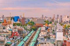 浅草地区顶视图在东京日本 免版税库存照片