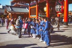 浅草Kannon寺庙学生 免版税库存照片