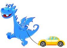 浅蓝色汽车龙玩具 图库摄影