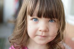 浅蓝色逗人喜爱的眼睛 免版税库存照片