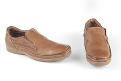 浅褐色的皮鞋 库存照片