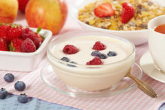 浆果新鲜的酸奶 免版税库存照片