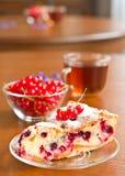 浆果无核小葡萄干饼片红色茶碟 免版税库存照片