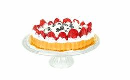 浆果蛋糕玻璃板 库存图片