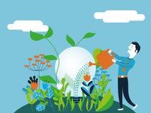 浇灌一个电灯泡的商人-导航概念的例证做生长一个好和生态想法 库存照片