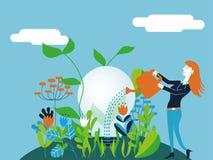 浇灌一个电灯泡的女商人-导航概念的例证做生长一个好和生态想法 库存图片