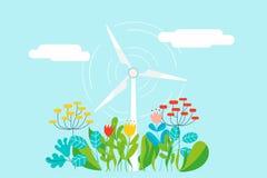 浇灌一个电灯泡的女商人-导航概念的例证做生长一个好和生态想法 图库摄影