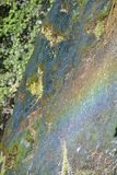 浇灌在一块石头的赛跑在与彩虹作用的sunligt 免版税库存照片