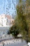 浇灌在窗玻璃的下落有模糊的背景 免版税库存图片