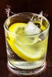 浇灌在玻璃的飞溅与柠檬切片和冰块,在木桌上 免版税库存图片