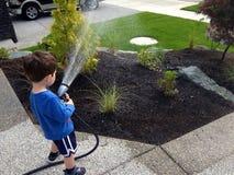 浇灌庭院 免版税库存照片