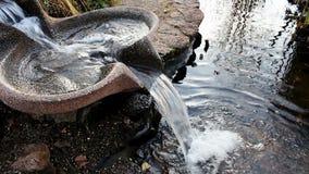 浇灌流动在喷泉碗下入池塘 股票录像